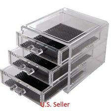 3 Drawer Acrylic Clear Jewelry Box Makeup Cosmetic Storage Organizer Case USA