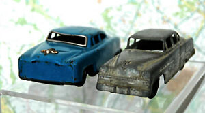 2 1950s Pressed Steel Cars: 1st Tootsietoy CHRYSLER 4 Door; 2nd is Blue Friction