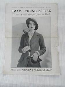 Vintage 1940's Knitting Pattern Ladies  Riding Stock & Gloves Free P & P