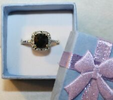 VICTORIA TOWNSEND 18K GOLD STERLING SILVER MIDNIGHT BLUE SAPPHIRE DIAMOND RING