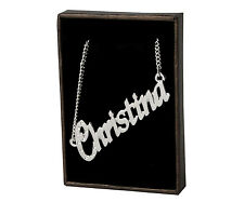 """Name Necklace """"CHRISTINA"""" - 18ct White Gold Plated -Made With Swarovski Elements"""