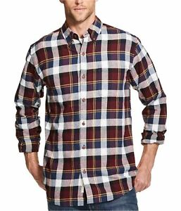 Weatherproof Mens Plaid Brushed Flannel Button Up Shirt