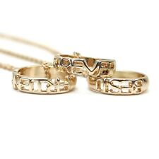NEW 3 pcs Best Friends Forever Pendant Friendship Ring Charm Necklace BFF Gold