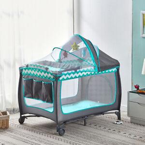 Modern Portable Baby Travel Cot Crib Bassinet Bed Playpen Infants Folding Blue