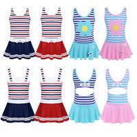 Girls Swim Dress Kids Striped Swimwear Swimsuit One-Piece Bathing Suit Beachwear
