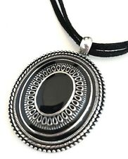 DESIGNER STATEMENT NECKLACE Silver Black Enamel Premier Urban Chic 13T
