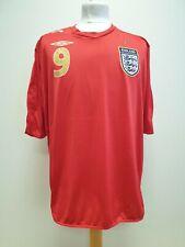 R329 MENS RETRO UMBRO ENGLAND No.9 ROONEY RED 06-08 FOOTBALL SHIRT UK XXL EU 58