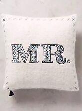 Anthropologie Merry Sentiment Pillow Mr Motif Embroidered MR. Wedding Pillow