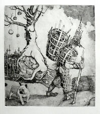 """Wickery Man"" copper engraving by Henryk Fantazos,limited edition 100,"
