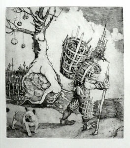 """""""Wickery Man"""" copper engraving by Henryk Fantazos,limited edition 100,"""