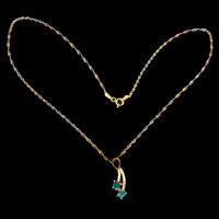 Pear 5x4mm Aaa Neon Blue Apatite Cz 14k Gold Plate 925 Sterling Silver Necklace