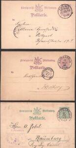 WURTTEMBERG, 1886-93. Postal Stationeries (6), Mint/Used