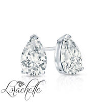 1.0 ct Brilliant Pear Cut Screw Back Earring Studs Real Solid 14K White Gold