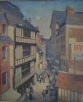 Ellis Berg 20th Century Continental Busy Street in Summer Scene Oil on Board