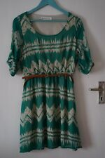 8e7c2e71f822e ModCloth Mountain Dwelling Dress green with belt size M aztec pattern