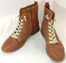 Report Combat Boots Shoes Womens Sz 8.5 Brogue Rose Beige Side Zip Leather