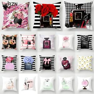 Perfume Bottles Series Floral Pillows Cover Hand Painted Flowers Cushion Cover
