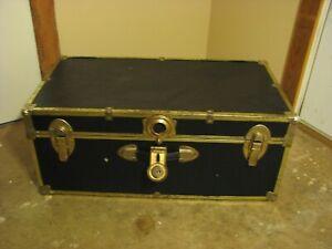 black wooden footlocker storage trunk