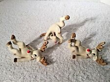 3 Vtg Hand Painted Fitz & Floyd 1976 Japan Tumbling Rudolph Christmas Figurines