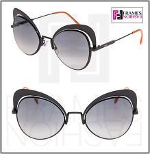 66f8a7ae44cb FENDI EYESHINE FF0247S Matte Black Coral Metal Sunglasses Round Runway 0247