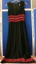 Vintage 1960-70 Mod Hippie Maxi Dress by Jobi Black w. Embroidery Trim Sz S