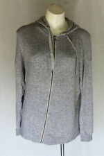 🏴 SIZE L MAYA GREY ZIP UP HOODED JUMPER SWEATER KNIT TOP POST 5+ FREE