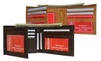 Genuine Leather Men Bifold Wallet 11 ID Credit Card Hideaway Zip Flap Key Holder