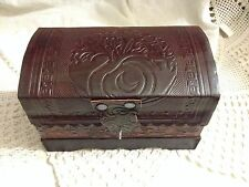 TREE OF LIFE Leather Chest Lined Latch Box Tarot Altar Wiccan Pagan Metaphysical