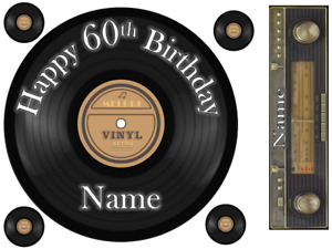 """VINYL RECORD 6"""" TO 10"""" ROUND PERSONALISED CAKE EDIBLE ICING TOPPER"""
