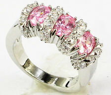 1248 Lady/Women's Pink Sapphire 14KT White Gold Filled Wedding Ring Gift size 8