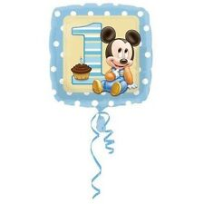 PALLONCINO 1° COMPLEANNO BIMBO Topolino Disney Azzurro quadrato Addobbi Feste