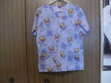 women size (small) disney pooh you make me smile short sleeve scrub top
