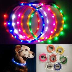 Collari per Cani con Flash LED Pet Collana USB Ricaricabile Sicurezza Notturna