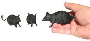 "3 RUBBER RATS Mouse Set Black Fake Cat Toy Halloween Prop 4.5"" Tail Joke Prank"