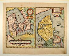 Daniae Regni Danmark Jutland Ortelius 1584 Original Antique Map Denmark Jylland