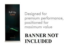"34"" ROLL UP LUNA BANNER STAND BY SPENNARE RETRACTABLE ADJUSTABLE GRAPHIC SIGN"