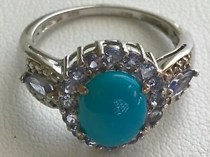 Sleeping Beauty Turquoise (2.00 Ct), Tanzanite Ring in Plat Overlay/.925, Size 9