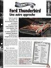 VOITURE FORD THUNDERBIRD FICHE TECHNIQUE AUTO 1967 COLLECTION CAR