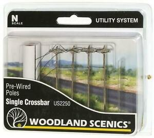 Woodland Scenics Terrain Pre-Wired Poles - Single Crossbar (N Scale) Pack New