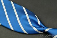 KITON Blue White Striped 100% Silk 7 FOLD Mens Luxury Tie - 3.25""