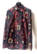 MAISON MARTIN MARGIELA Herren Langarm Hemd Grau Blumenmuster Shirt Gr 48 UVP€472