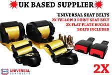 2x Universal Yellow 3 Point Seat Belts 3.5m Length & 15cm Flat Plate Buckle E4