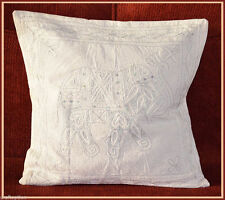 COTTON CHAIN STITCHED EMBROIDERED BEIGE WHITE PILLOW COVER/CUSHION COVER INDIA!!