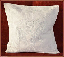 COTTON CHAIN STITCHED EMBROIDERED WHITE PILLOW COVER/CUSHION COVER FROM INDIA!!