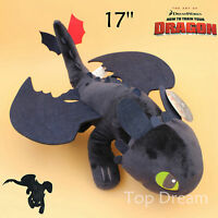 "How to Train Your Dragon Plush Toothless Night Fury Soft Toy Doll Teddy 17"" BIG"