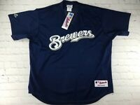 NWT Majestic Authentic MLB Milwaukee Brewers Mesh Batting Practice Jersey 2XL