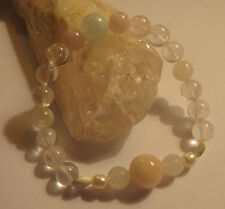MORGANITE QUARTZ PEARL SHIVA SHELL ROSE QUARTZ AQUAMARINE CRYSTAL BRACELET