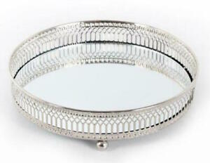 Silver Effect Mirror Tealight Candle Plate Tray 20 cm