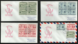 Philippines #610-612 Second Asian Games Set of 3 Blocks of 4 FDC's Cachet G5359