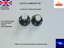 2x Blue T3 Neo Wedge 1 SMD LED Bulbs Cluster Instrument Dash Control Lights 12V